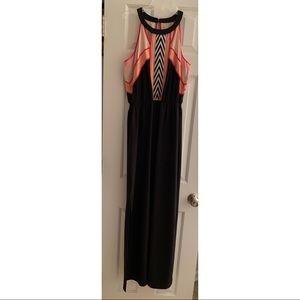 Studio Y Pink Black and Chevron Maxi Dress Medium